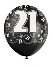 21st Birthday Black Glitz Latex Balloons 12 inch